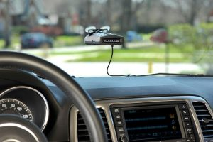Cobra Electronics RAD 350 Radar Detector Unit Mounted On The Windshield
