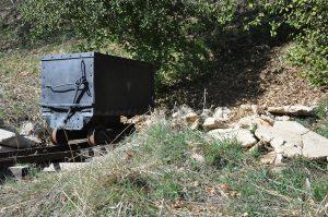 A photograph of a mine cart